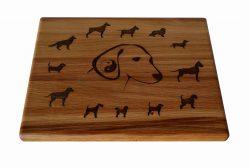 Дъска за рязане Дъб - кучета лазерна гравюра 1
