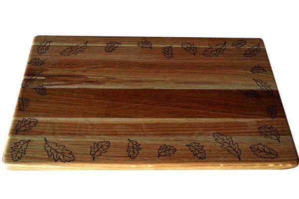 Дъска за рязане Дъб - листа лазерна гравюра 1