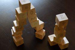 игра с дървени кубчета с Цифри 6