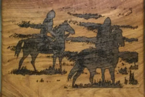 cutting board with horses
